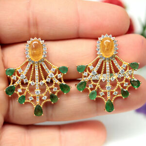 NATURAL YELLOW SAPPHIRE EMERALD & WHITE CZ EARRINGS 925 SILVER STERLING
