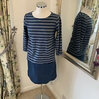 Seasalt Size 8 blue striped cotton linen Hendra vean dress 3/4 sleeve pockets