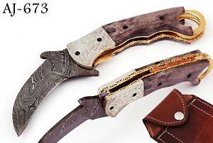 HAND MADE DAMASCUS STEEL KARAMBIT FOLDING POCKET KNIFE W/ BONE HANDLE - AJ 673