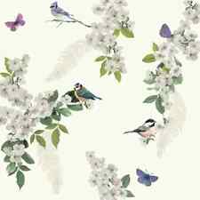 4x Arthouse 670401 Mitzu White Wallpaper Floral Glitter Birds Feathers