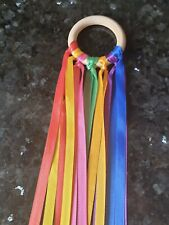 Rainbow Wooden Sensory Ribbon Ring Baby toy-baby shower gift Baby Girl Boy