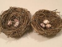 """2 VERY SMALL BIRD'S NESTS EACH WITH 3 TINY EGGS  2 1/2"""" AROUND"""