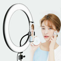 LED Dimmable Studio Camera Ring Light Photo Video Fill Lamp Annular w/ Tripods