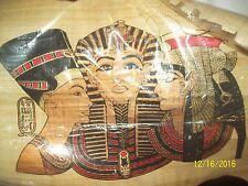 "Egyptian Painting 12 x 15"" Papyrus Paper ""Metallic King TUT & Egyptians""-NEW"