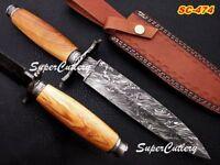 "12"" Custom Handmade Damascus Dagger Knife Olive Wood Handle Fire Damascus"