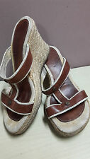 ausm AUTHENTIC CELINE PARIS BROWN ESPADRILLE WEDGE SANDALS