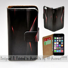 Wallet Phone Case Flip Cover for Apple iPhone 5 5S - Black Polygon Infra Red