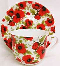 Red Poppy Large Cup & Saucer Bone China Poppies Breakfast Set Hand Decorated UK