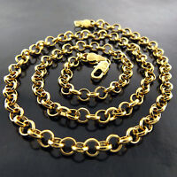 NECKLACE PENDANT CHAIN GENUINE 18K YELLOW G/F GOLD SOLID BELCHER LINK DESIGN