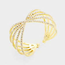 Statement Celeb Clear Crystal Multi Row Cuff Bangle Bracelet By Rocks Boutique
