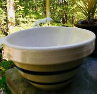 """Vintage RRP Co. Roseville Ohio Pottery 9"""" Blue Band Mixing Bowl"""