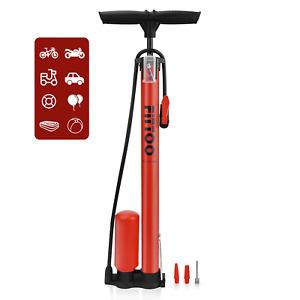 High Pressure Bicycle Bike Floor Hand air Pump, Bicycle Tube Pump Red Yellow