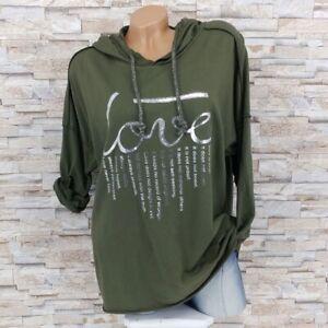 MADE IN ITALY Kapuzenpullover Sweater Hoodie Baumwolle Love Text oliv-grün 38-44