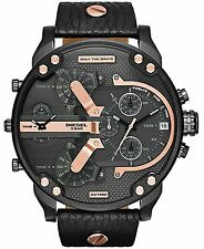 NEW MENS DIESEL (DZ7350) BIG DADDY 2.0 SBA ROSE GOLD BLACK LEATHER STRAP WATCH