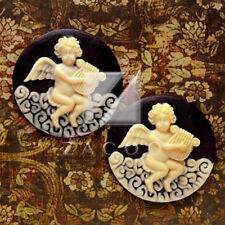 2pcs Resin Angel Play Music Flatback Vintage Round Cameo Cabochon Beads RB0606-3