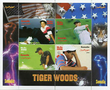Somalia 2000 MNH Tiger Woods 4v M/S Golf Sports Tigers Wild Animals Stamps