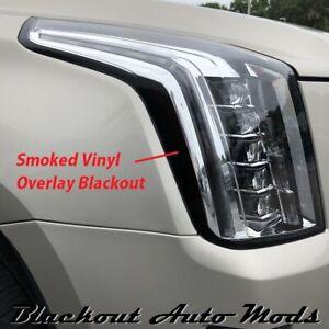 2015-2020 Cadillac Escalade Head Light Side Marker Blackout Smoked Vinyl Overlay