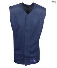 New Mizuno Mens Size-Medium Sleeveless Navy Blue Polyester Mesh Baseball Jersey