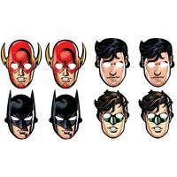 JUSTICE LEAGUE BIRTHDAY PARTY SUPPLIES PARTY MASKS ( PACK OF 8 )