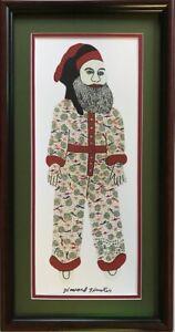 Howard Finster's Glitter Santa, Framed And Matted