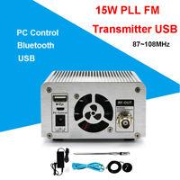 Digital 15W PLL FM Transmitter Wireless USB Antenna Station Stereo Broadcast Pro