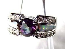 Sterling 925 Silver SF Size 6 Ring White Lab Fire Opal & 7mm Rainbow Topaz & WT