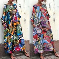Maxi Oversize Shirt Plus Women Kaftan Floral Print Long Tops Dress