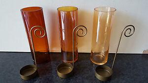 3 er Set indische Teelichtgläser mit Halter Windlicht Halter Gläser NEUKerze NEU