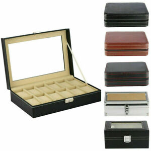 Portable 3/6//8/12 Grid Leather Watch Box Storage Organizer With Zipper Display
