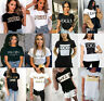 Ladies Short Sleeve Vogue Slogan Printed Ye Yves Saint Love West T-shirt Tee  UK