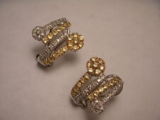 Gorgeous 14K White Gold Yellow Sapphire Diamond Floral French Clip Earrings