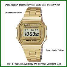 CASIO A168WA-1YES Classic Retro Unisex Digital Steel Bracelet Watch Gold Colour