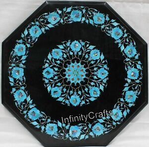 24 Inches Marble Coffee Table Top Marquetry Art Island Table with Elegant Look