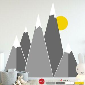 Mountain Wall Art Decal Boy Girl Scandinavian Themed Nursery Bedroom Sticker