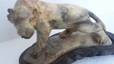 """Antique Stone Tiger Figurine/Statue/Sculpture with Base 6"""" Long"""