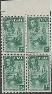 Stamp 1938 Fiji 1/2d green KGV1 SG249 top block 4 kings forehead & line right