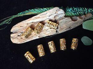 Brass Shade Dread Beads 8 x Carved Swirl Design Dreadlock Cuffs 5mm Hole UK