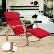 Red Rocking Lounge Chair Recliners With Adjustable Footrest & Headrest Pillow