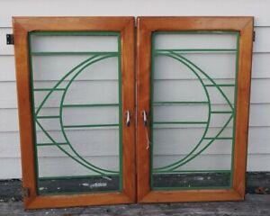 """Lot of Two Art Deco Cabinet Doors  25""""X15"""""""