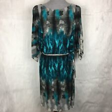 Suzi Chin for Maggy Boutique 12 Dress Turquoise Gray Batwing Watercolor Career