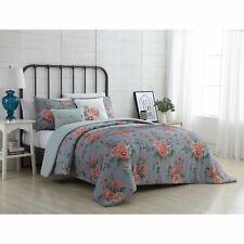 Vcny Home Katherine Reversible Floral Comforter Set Grey/Pink Twin Xl