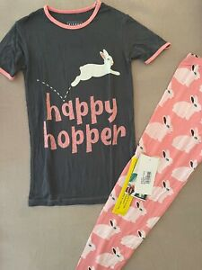 NEW Kickee Pants Pajama Set in Strawberry Forest Rabbit, Size 10