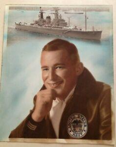 """Vintage US Navy Sailors Painted Portrait Photo - 10"""" x 8"""""""