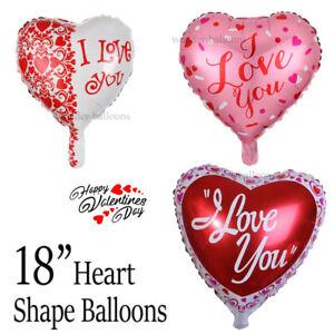 "18"" inch Foil Valentine Love Heart shape ""I love You"" PRINT Air/Helium Baloons"