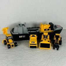 Lot of 4 CAT Construction Yellow Plastic Vehicles And Ship