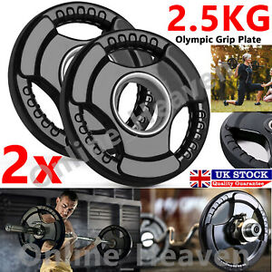 2x 2.5KG Tri-grip Weight Plates Lifting Weights Gym Home Rubber Encased 2 Inch