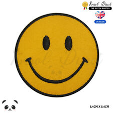 Smiley Face Emoji Embroidered Iron On Sew On Patch Badge For Clothes Bags etc