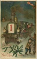 New Year - RR Train & Children BW 302 c1910 Postcard