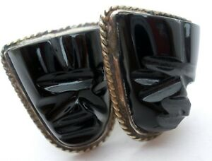 Sterling Silver Black Onyx Carved Mask Cufflinks Vintage Mexican Cuff Links Mens