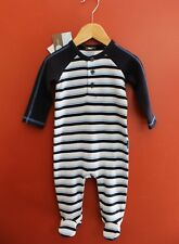 NWT Rabbit Moon Baby Boy Long Sleeve Striped Footie Size 6-9 Month in White/Blue